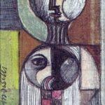 MATERNITA', 1980 - tecnica mista su carta cm. 7,5x5,5