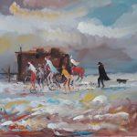 Bellucci, I Girovaghi olio su tela cm. 60x80