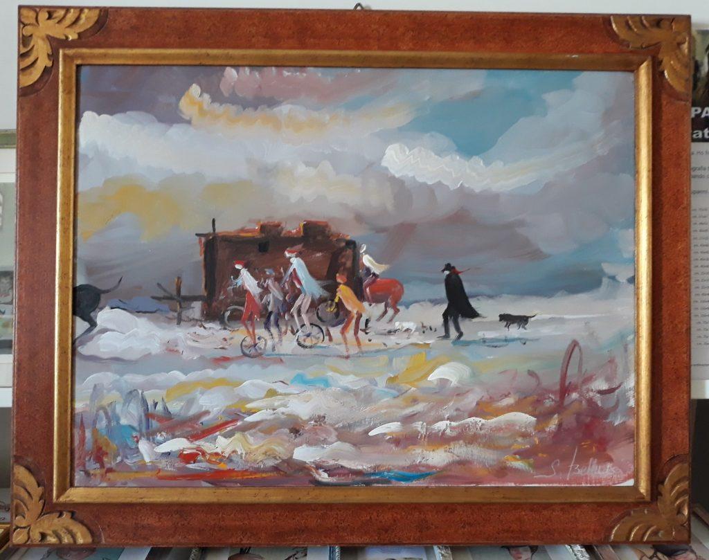Bellucci, I Girovaghi olio su tela cm. 60x80 completo di cornice
