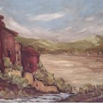 Raimondi, Lago ghiacciato - olio su cartone telato cm.