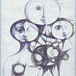 LA COMETA - penna nera e blu su carta cm. 29x20