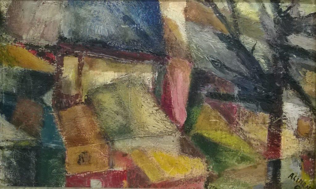 Paesaggio montano, olio su tavola cm. 35x56