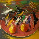 Bellucci, Festa d'estate, olio su tavola cm. 106x140