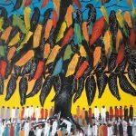 Bellucci Sirio - L'albero della felicità, opera unica ad olio su tela cm. 110 x 90