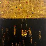 Bellucci, L'altalena - tecnica mista su tela cm. 100x80